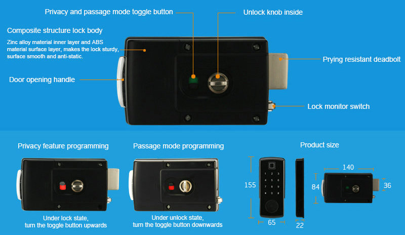 Bluetooth Lock-JY-OS2917B Part function