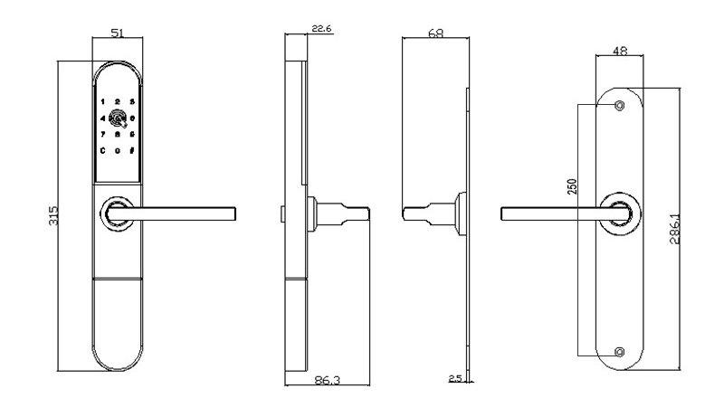 Bluetooth Lock JYF-E02F Size
