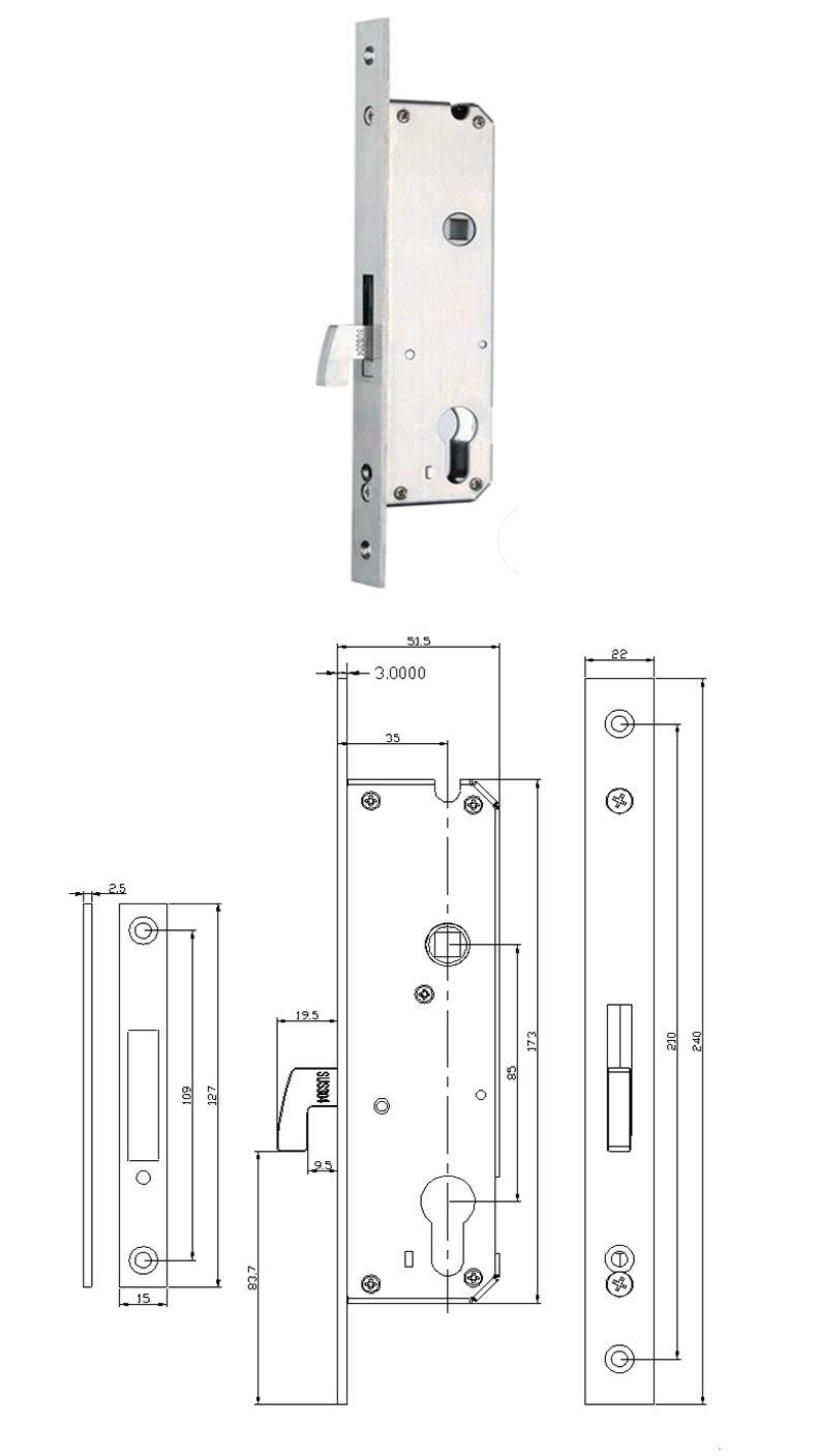 Bluetooth Lock JYF-E02F 8535 Lock body Size