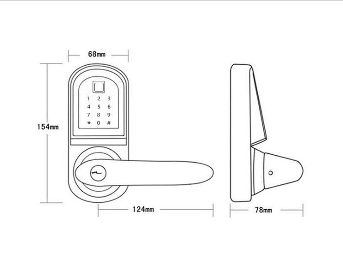 Bluetooth Lock JYF-S201BL-F Size