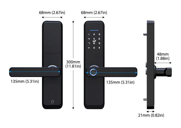 JYF-T2019X Tuya WIFI Lock Size